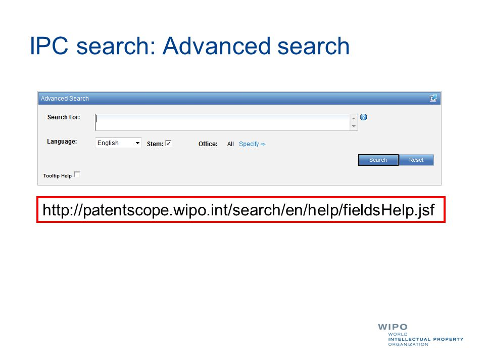 IPC search: Advanced search