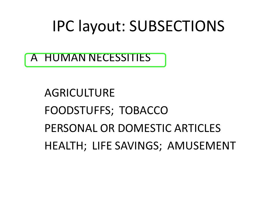IPC layout: SUBSECTIONS AHUMAN NECESSITIES AGRICULTURE FOODSTUFFS; TOBACCO PERSONAL OR DOMESTIC ARTICLES HEALTH; LIFE SAVINGS; AMUSEMENT
