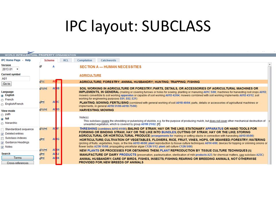 IPC layout: SUBCLASS Subclass = 3rd hierarchical level Subclass symbol: capital letter Subclass title: indicates content of subsclass