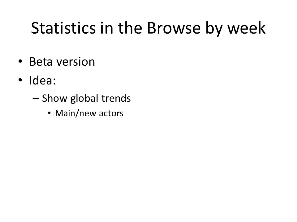 Statistics in the Browse by week Beta version Idea: – Show global trends Main/new actors