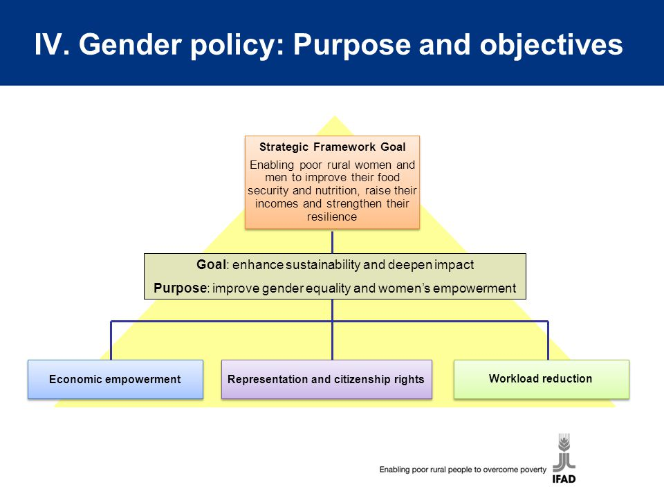 IV. Gender policy: Purpose and objectives Economic empowerment Representation and citizenship rights Workload reduction Goal: enhance sustainability a