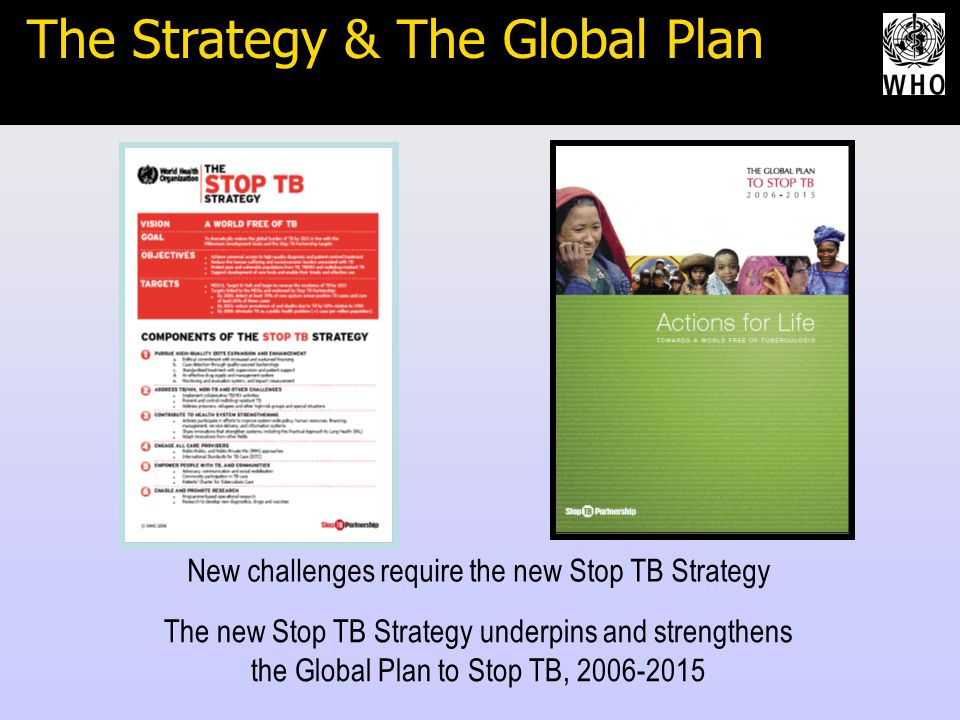 In conclusion… New challenges require the new Stop TB Strategy The new Stop TB Strategy underpins and strengthens the Global Plan to Stop TB, 2006-2015 The Strategy & The Global Plan