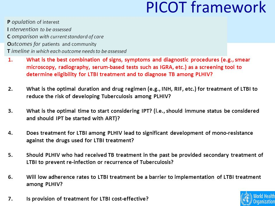 PICOT framework 1.What is the best combination of signs, symptoms and diagnostic procedures (e.g., smear microscopy, radiography, serum-based tests such as IGRA, etc.) as a screening tool to determine eligibility for LTBI treatment and to diagnose TB among PLHIV.