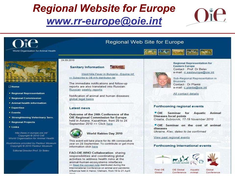 Regional Website for Europe www.rr-europe@oie.int
