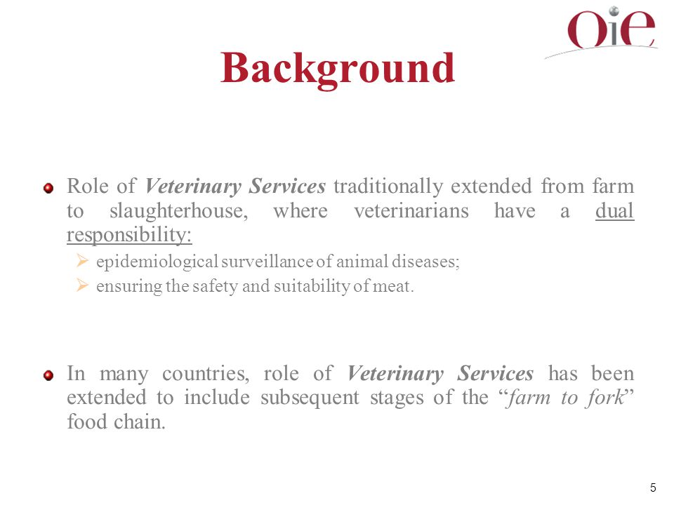 26 Optimising the contribution of the Veterinary Services to food safety Veterinary Services should comply with OIE fundamental principles of quality given in Chapter 3.1 of the Terrestrial Code.