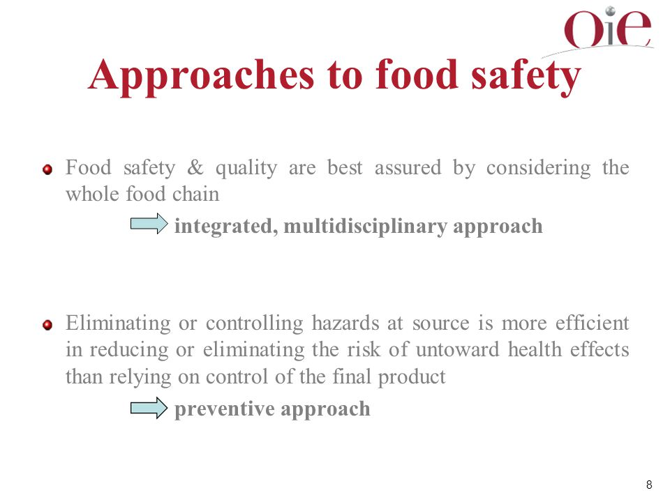 9 Approaches to food safety Approaches to food safety have evolved from controls based on good practices (Good Agricultural Practice (GAP), Good Hygienic Practice, etc.), via food safety systems based on Hazard Analysis and Critical Control Points (HACCP) to risk-based approaches using food safety risk analysis.