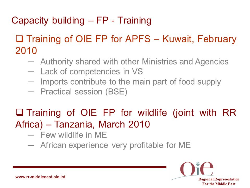 Capacity building – FP - Training Regional Representation For the Middle East www.rr-middleeast.oie.int  Training of OIE FP for APFS – Kuwait, Februa