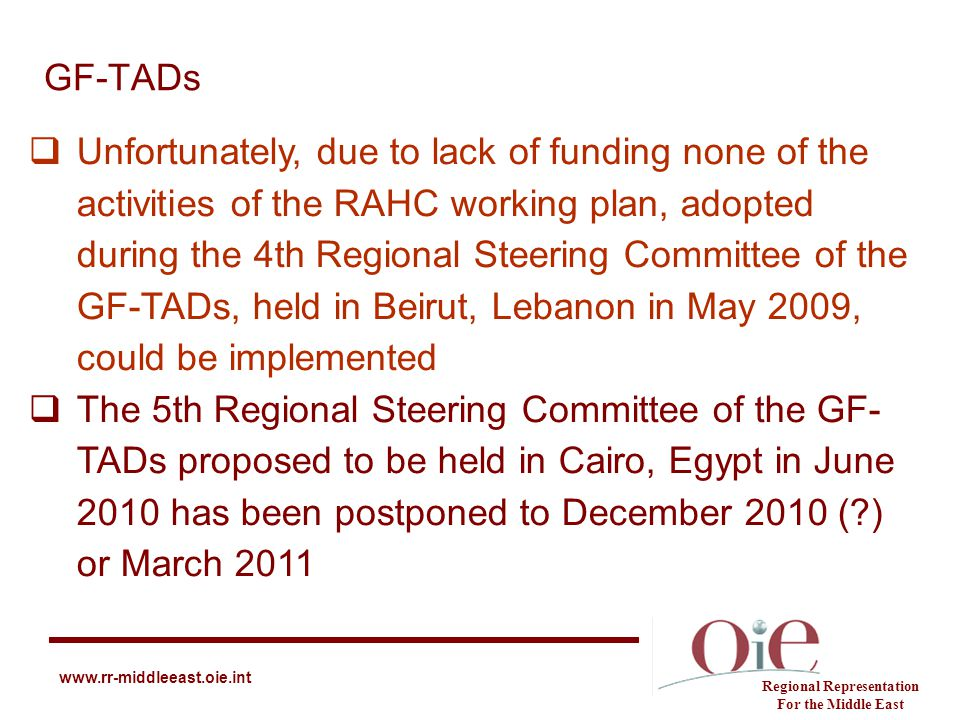 GF-TADs Regional Representation For the Middle East www.rr-middleeast.oie.int  Unfortunately, due to lack of funding none of the activities of the RA