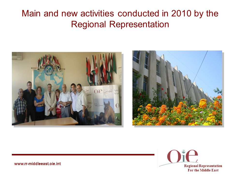 Main and new activities conducted in 2010 by the Regional Representation Regional Representation For the Middle East www.rr-middleeast.oie.int