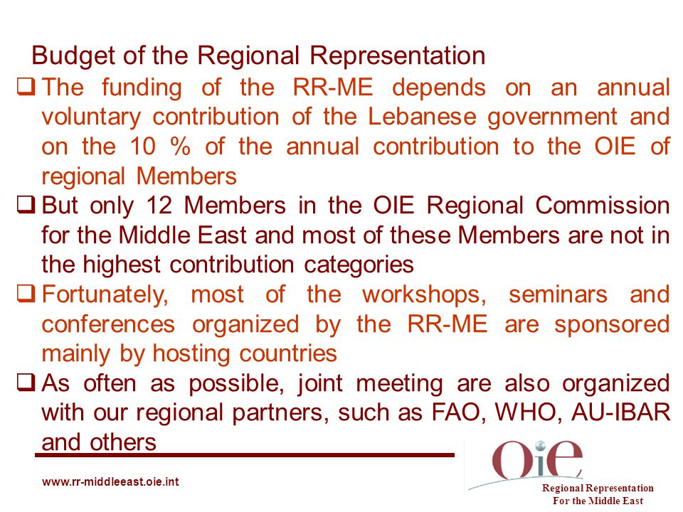 Budget of the Regional Representation Regional Representation For the Middle East www.rr-middleeast.oie.int  The funding of the RR-ME depends on an a