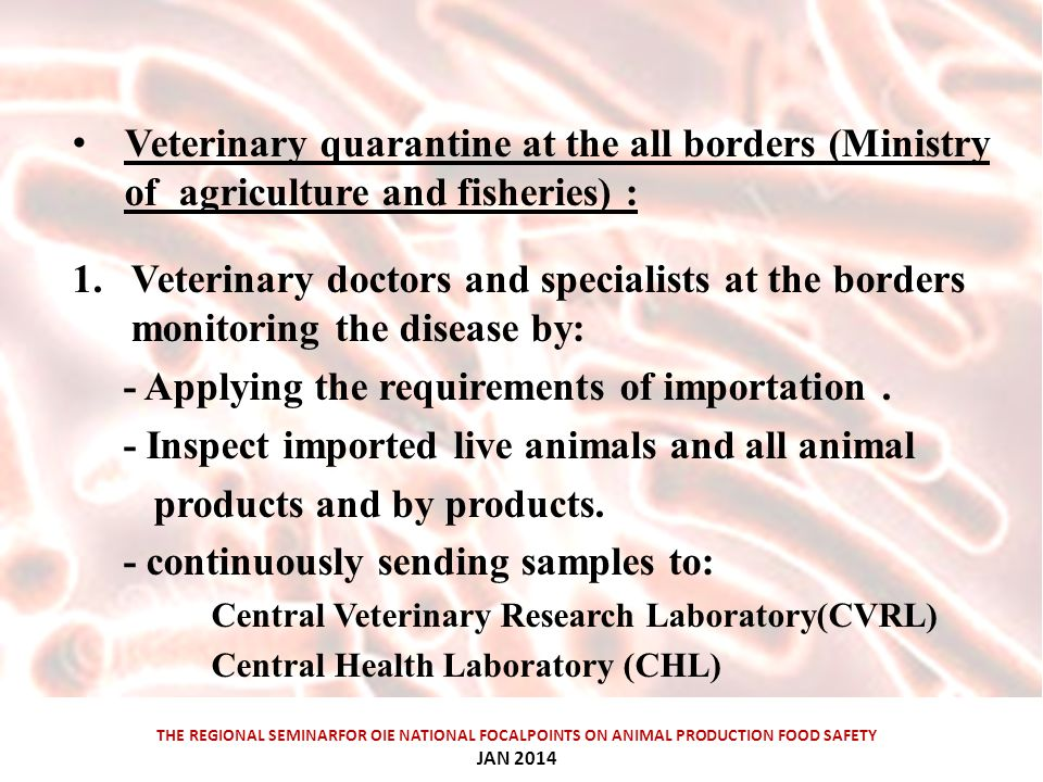 THE REGIONAL SEMINARFOR OIE NATIONAL FOCALPOINTS ON ANIMAL PRODUCTION FOOD SAFETY JAN 2014 Veterinary quarantine at the all borders (Ministry of agriculture and fisheries) : 1.Veterinary doctors and specialists at the borders monitoring the disease by: - Applying the requirements of importation.