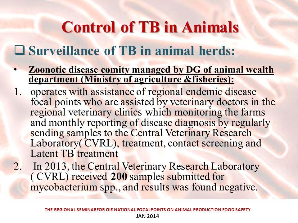 Control ofTBinAnimals Control of TB in Animals THE REGIONAL SEMINARFOR OIE NATIONAL FOCALPOINTS ON ANIMAL PRODUCTION FOOD SAFETY JAN 2014  Surveillan