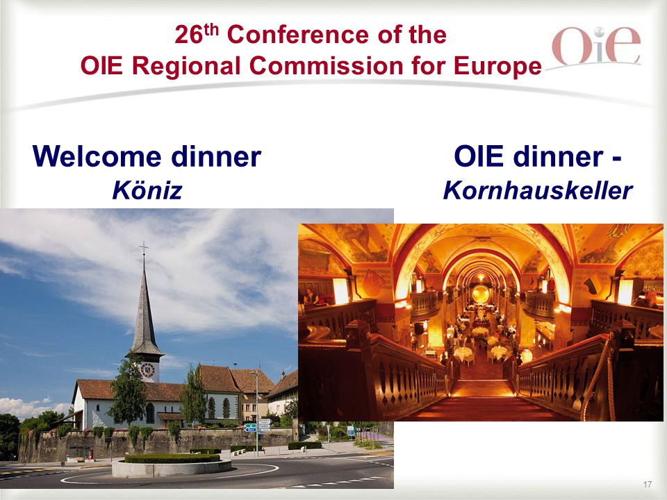17 Welcome dinner Köniz 26 th Conference of the OIE Regional Commission for Europe OIE dinner - Kornhauskeller