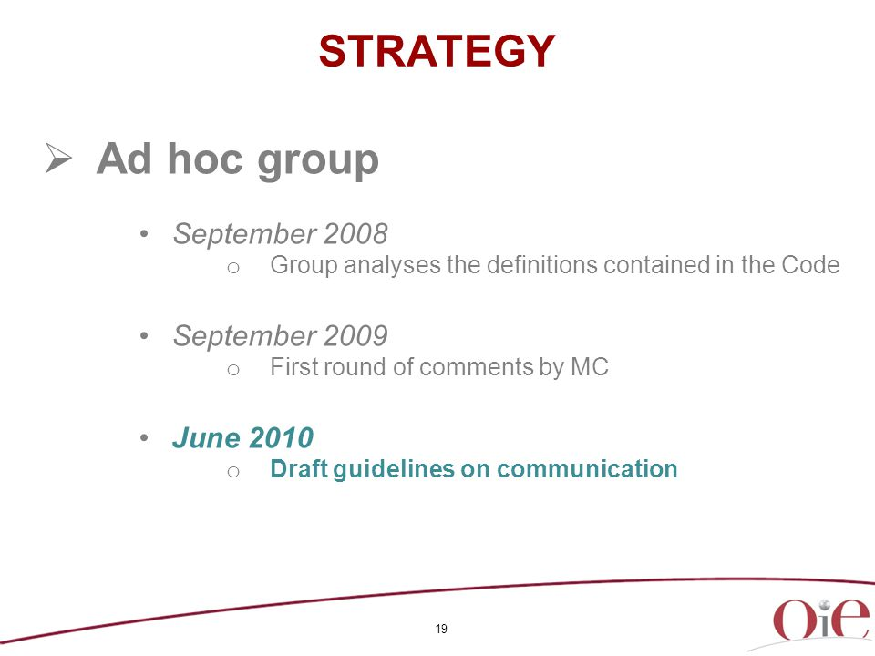 19 STRATEGY  Ad hoc group September 2008 o Group analyses the definitions contained in the Code September 2009 o First round of comments by MC June 2010 o Draft guidelines on communication