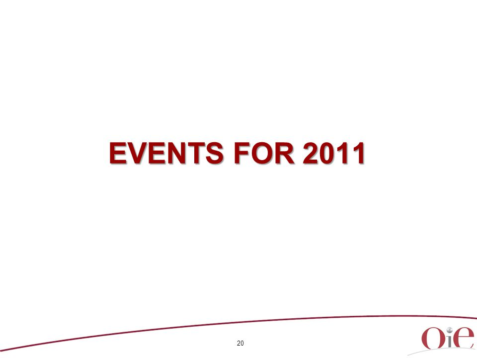 20 EVENTS FOR 2011