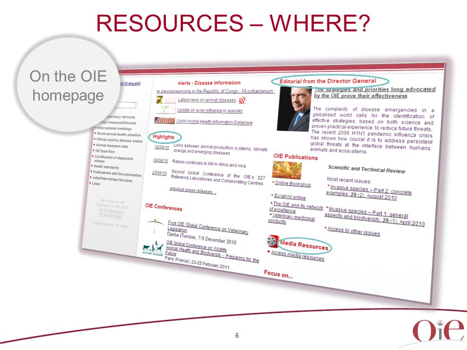 6 RESOURCES – WHERE On the OIE homepage