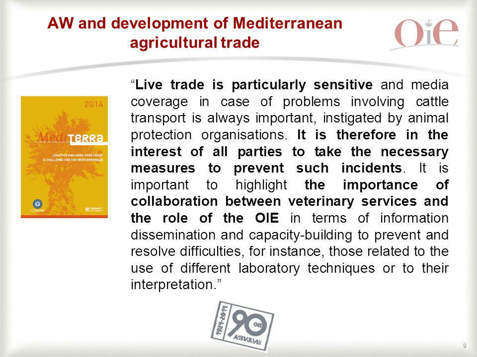 "99 AW and development of Mediterranean agricultural trade ""Live trade is particularly sensitive and media coverage in case of problems involving cattl"