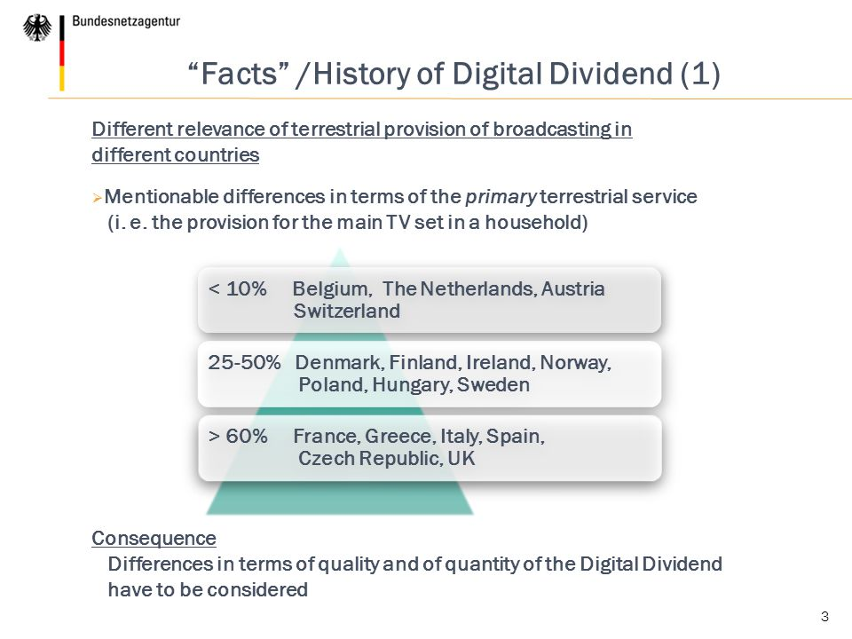 < 10% Belgium, The Netherlands, Austria Switzerland 25-50% Denmark, Finland, Ireland, Norway, Poland, Hungary, Sweden > 60% France, Greece, Italy, Spain, Czech Republic, UK 3 Facts /History of Digital Dividend (1) Different relevance of terrestrial provision of broadcasting in different countries  Mentionable differences in terms of the primary terrestrial service (i.
