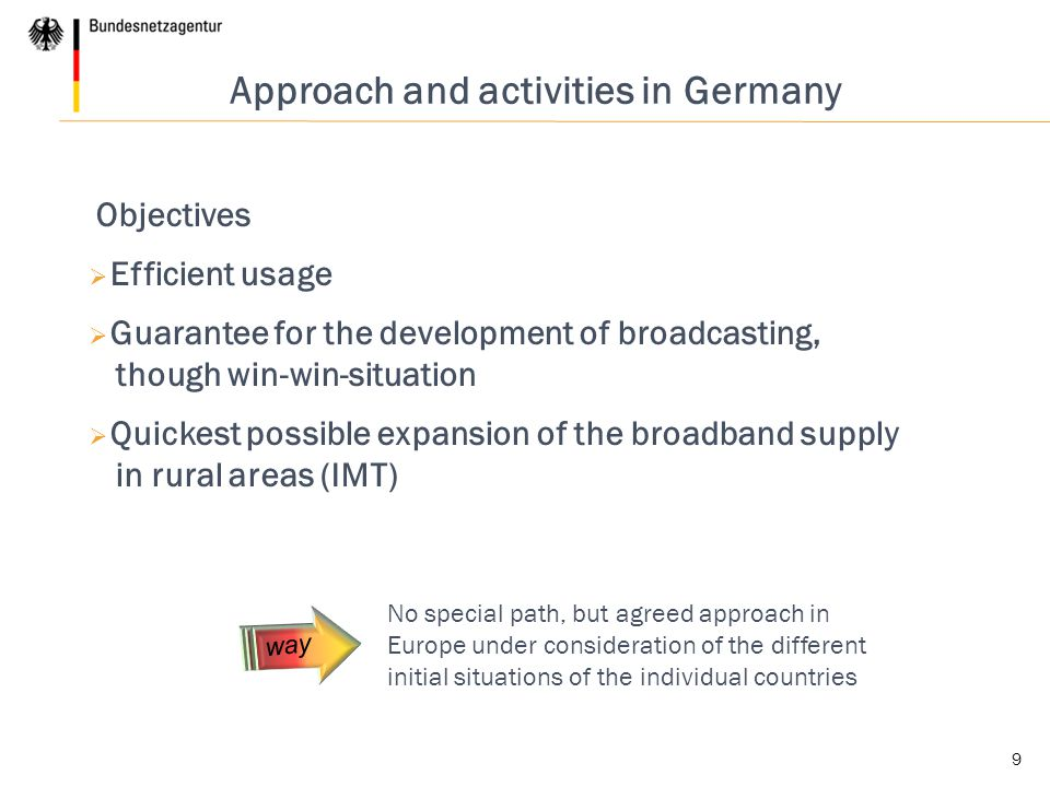 9 Approach and activities in Germany Objectives  Efficient usage  Guarantee for the development of broadcasting, though win-win-situation  Quickest