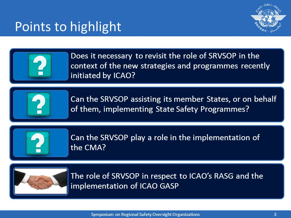 3 Points to highlight Does it necessary to revisit the role of SRVSOP in the context of the new strategies and programmes recently initiated by ICAO.