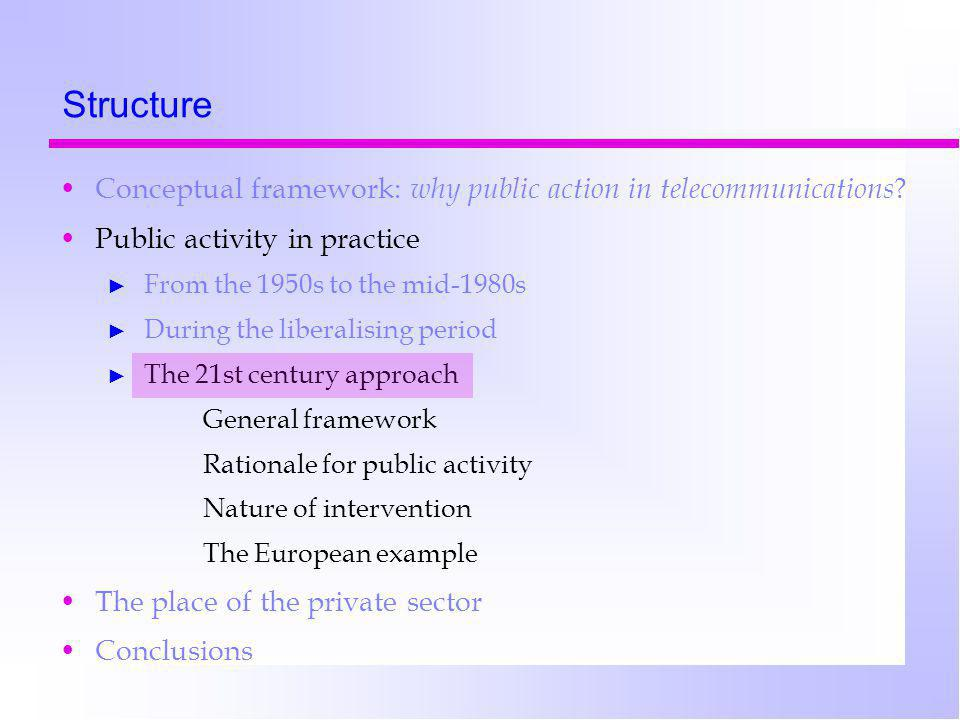 Structure Conceptual framework: why public action in telecommunications .