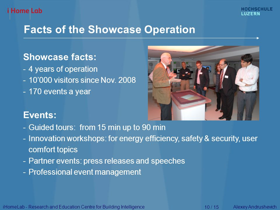 Alexey Andrushevich Facts of the Showcase Operation 10 / 15 Showcase facts: -4 years of operation -10'000 visitors since Nov.