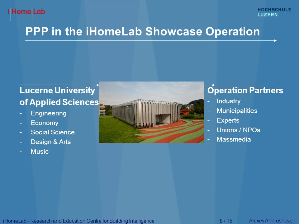 Alexey Andrushevich PPP Funding for the Showcase Operation 9 / 15 Lucerne University of A.S.