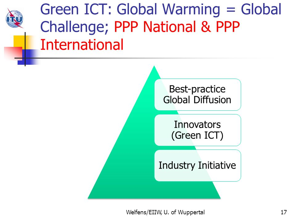 Green ICT: Global Warming = Global Challenge; PPP National & PPP International Best-practice Global Diffusion Innovators (Green ICT) Industry Initiative Welfens/EIIW, U.