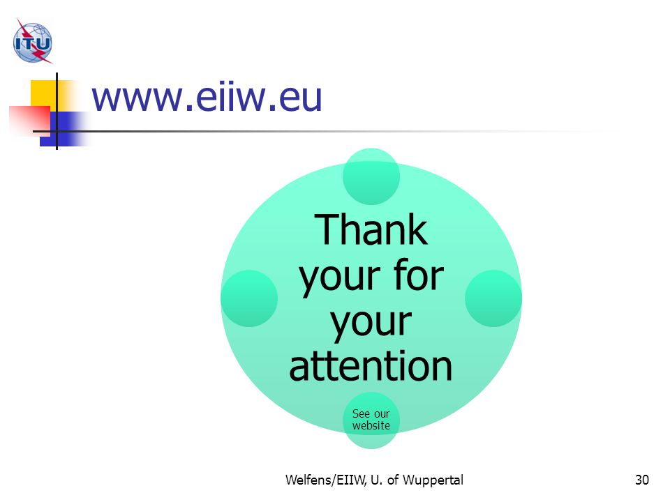 www.eiiw.eu Thank your for your attention See our website 30Welfens/EIIW, U. of Wuppertal