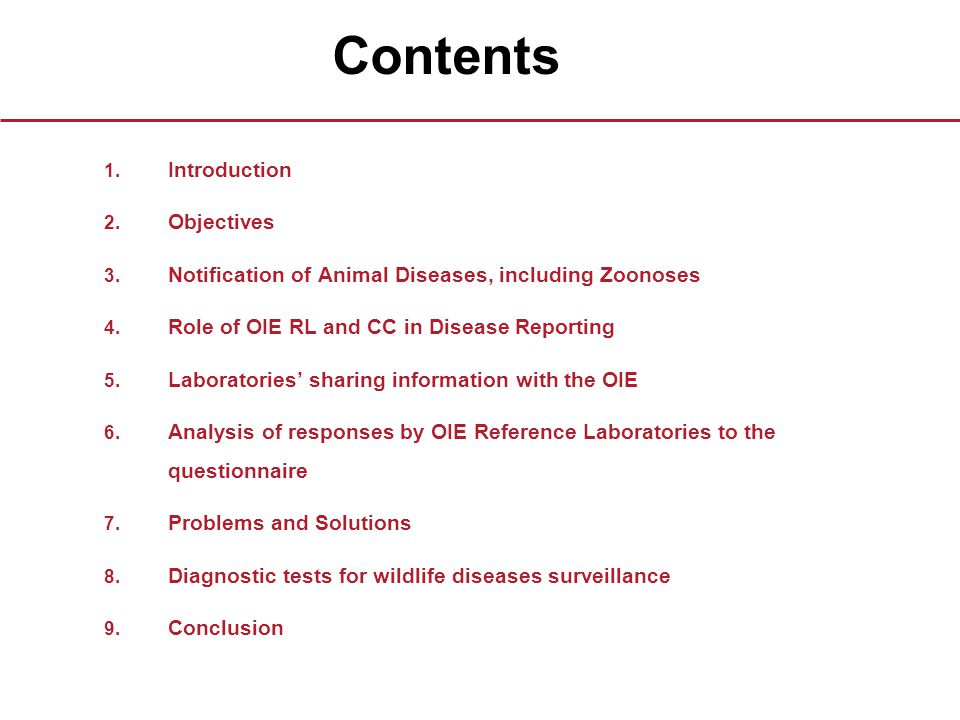 Contents 1. Introduction 2. Objectives 3. Notification of Animal Diseases, including Zoonoses 4.