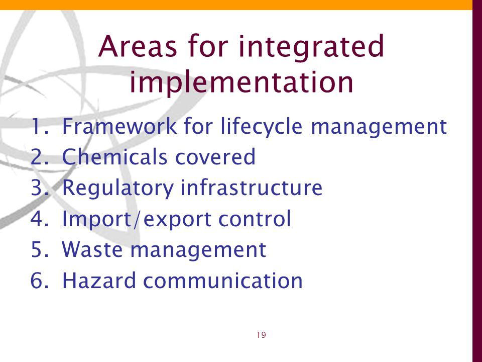 19 Areas for integrated implementation 1.Framework for lifecycle management 2.Chemicals covered 3.Regulatory infrastructure 4.Import/export control 5.Waste management 6.Hazard communication