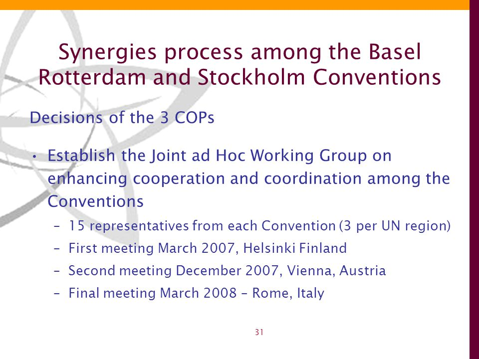 31 Synergies process among the Basel Rotterdam and Stockholm Conventions Decisions of the 3 COPs Establish the Joint ad Hoc Working Group on enhancing cooperation and coordination among the Conventions –15 representatives from each Convention (3 per UN region) –First meeting March 2007, Helsinki Finland –Second meeting December 2007, Vienna, Austria –Final meeting March 2008 – Rome, Italy
