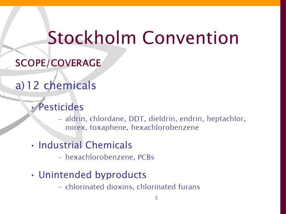 5 Stockholm Convention SCOPE/COVERAGE a)12 chemicals Pesticides –aldrin, chlordane, DDT, dieldrin, endrin, heptachlor, mirex, toxaphene, hexachlorobenzene Industrial Chemicals –hexachlorobenzene, PCBs Unintended byproducts –chlorinated dioxins, chlorinated furans