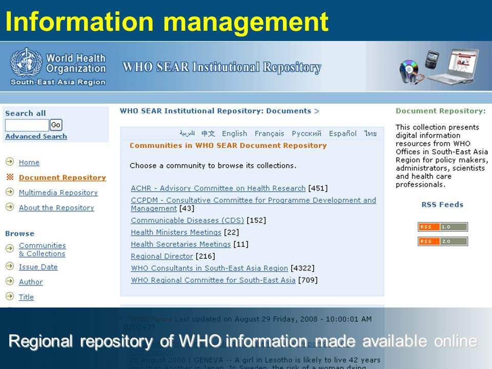 Regional repository of WHO information made available online Information management