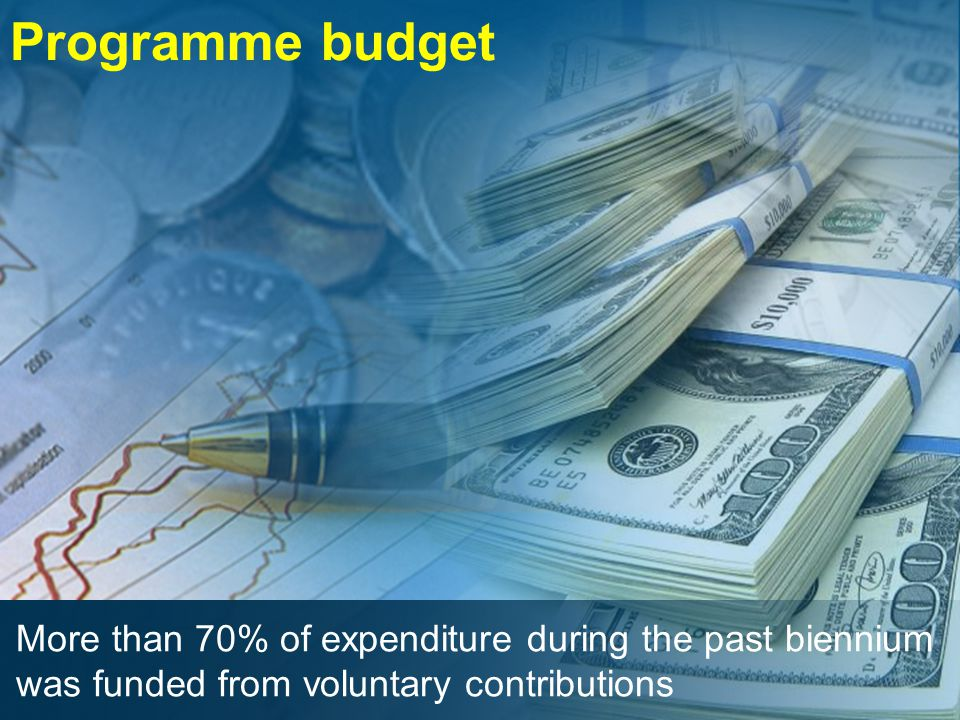 Programme budget More than 70% of expenditure during the past biennium was funded from voluntary contributions