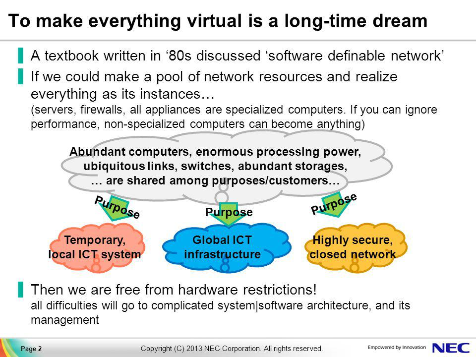 To make everything virtual is a long-time dream ▐A textbook written in '80s discussed 'software definable network' ▐If we could make a pool of network resources and realize everything as its instances… (servers, firewalls, all appliances are specialized computers.