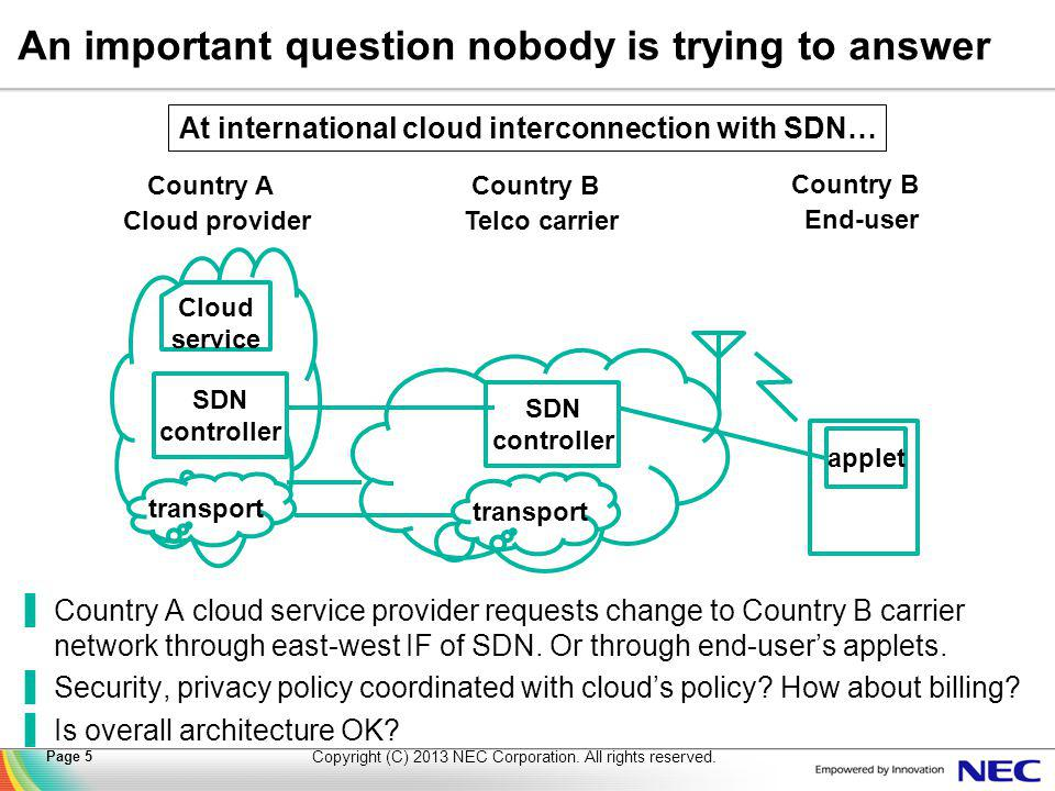 An important question nobody is trying to answer ▐Country A cloud service provider requests change to Country B carrier network through east-west IF of SDN.