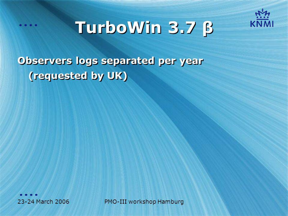 23-24 March 2006PMO-III workshop Hamburg TurboWin 3.7 β Re-design air pressure input: Separated barometer and barograph Re-design air pressure input: Separated barometer and barograph