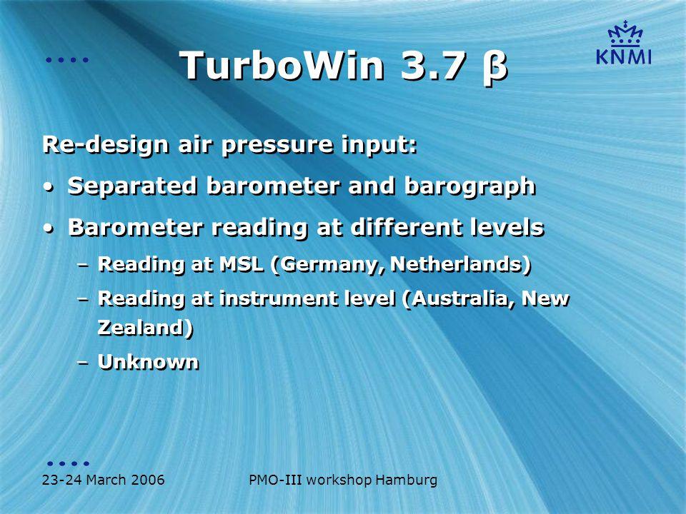 23-24 March 2006PMO-III workshop Hamburg TurboWin 3.7 β Re-design air pressure input MSL 13m 6m 4.5m ?