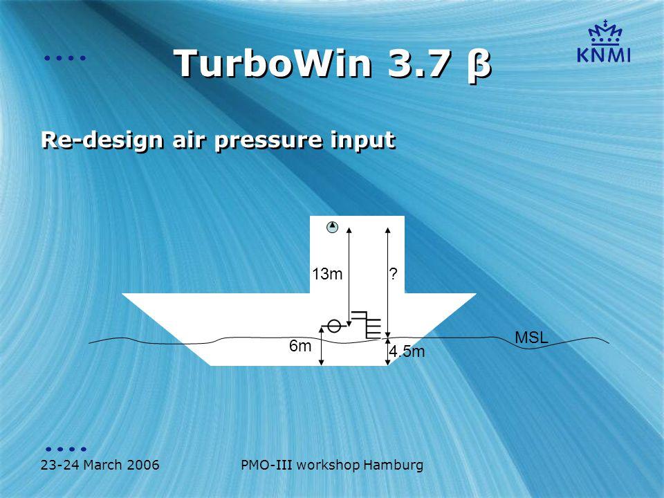 23-24 March 2006PMO-III workshop Hamburg TurboWin 3.7 β Re-design air pressure input MSL 13m 6m 4.5m