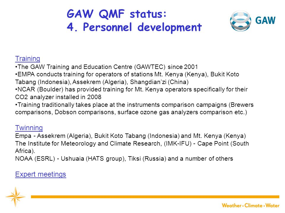 GAW QMF status: 4.