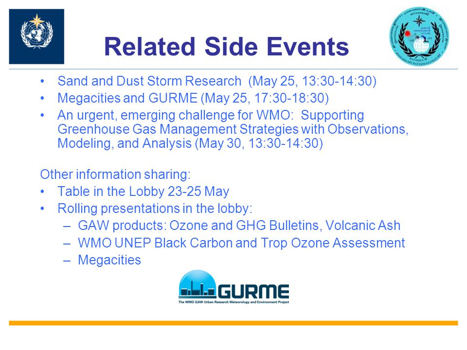Related Side Events Sand and Dust Storm Research (May 25, 13:30-14:30) Megacities and GURME (May 25, 17:30-18:30) An urgent, emerging challenge for WM