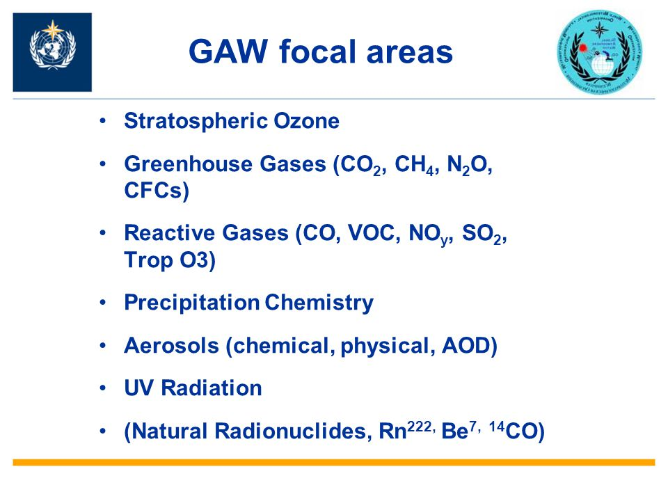 GAW focal areas Stratospheric Ozone Greenhouse Gases (CO 2, CH 4, N 2 O, CFCs) Reactive Gases (CO, VOC, NO y, SO 2, Trop O3) Precipitation Chemistry A