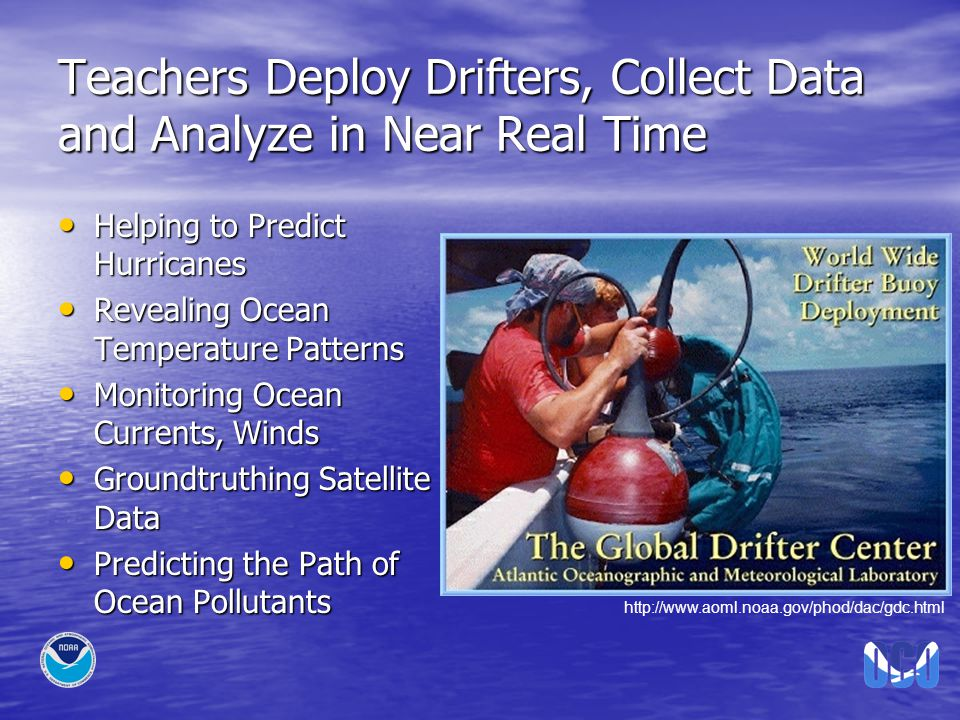 Teachers Deploy Drifters, Collect Data and Analyze in Near Real Time Helping to Predict Hurricanes Helping to Predict Hurricanes Revealing Ocean Temperature Patterns Revealing Ocean Temperature Patterns Monitoring Ocean Currents, Winds Monitoring Ocean Currents, Winds Groundtruthing Satellite Data Groundtruthing Satellite Data Predicting the Path of Ocean Pollutants Predicting the Path of Ocean Pollutants http://www.aoml.noaa.gov/phod/dac/gdc.html