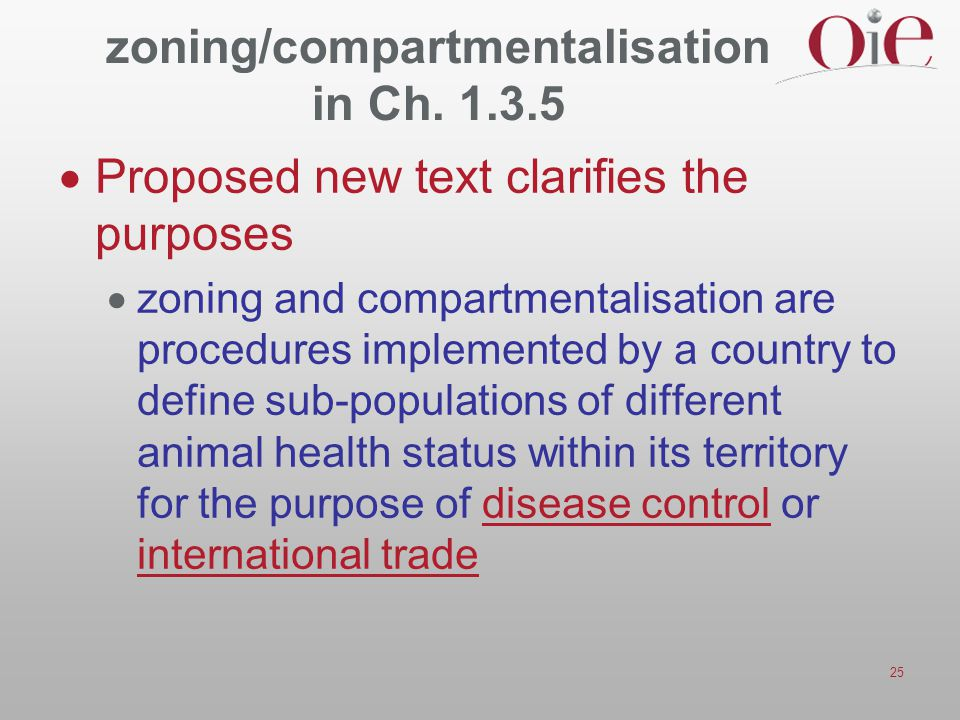 25 zoning/compartmentalisation in Ch. 1.3.5  Proposed new text clarifies the purposes  zoning and compartmentalisation are procedures implemented by