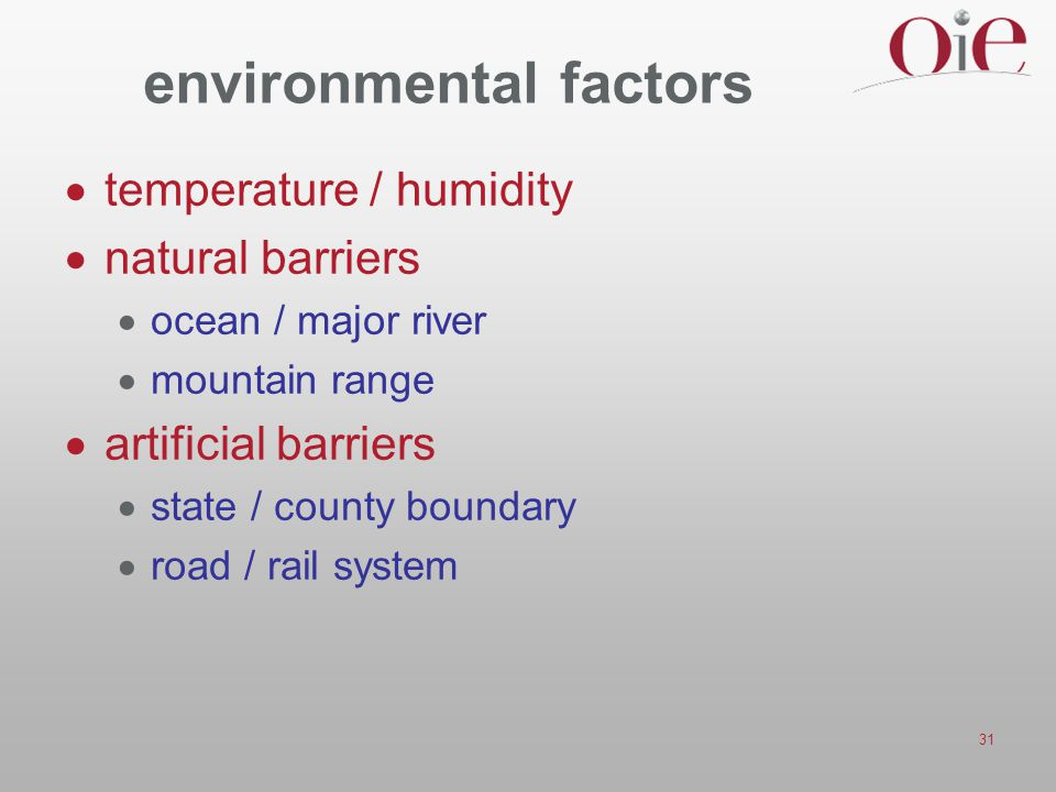 31 environmental factors  temperature / humidity  natural barriers  ocean / major river  mountain range  artificial barriers  state / county bou