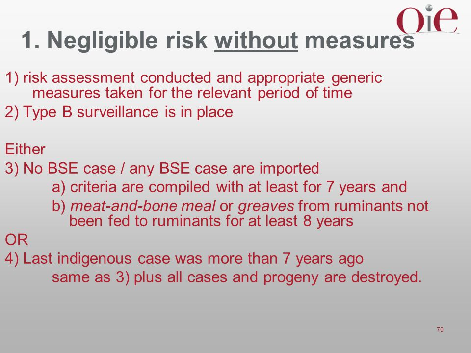 70 1. Negligible risk without measures 1) risk assessment conducted and appropriate generic measures taken for the relevant period of time 2) Type B s