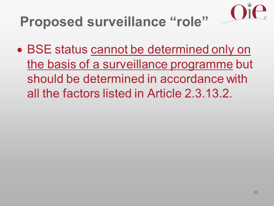 "82 Proposed surveillance ""role""  BSE status cannot be determined only on the basis of a surveillance programme but should be determined in accordance"