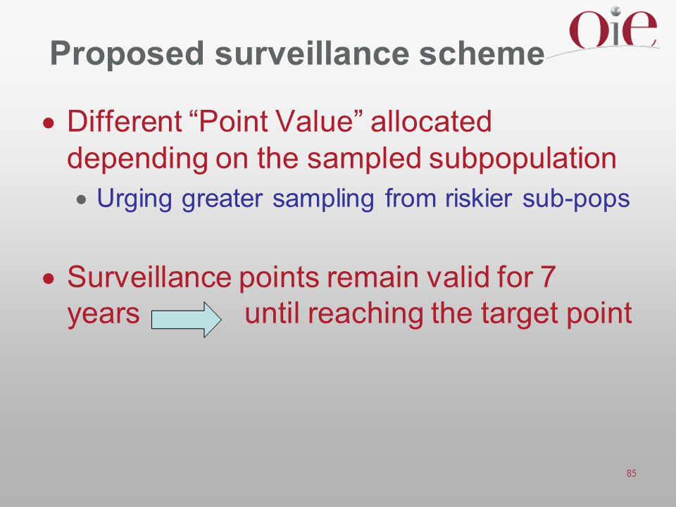 "85 Proposed surveillance scheme  Different ""Point Value"" allocated depending on the sampled subpopulation  Urging greater sampling from riskier sub-"