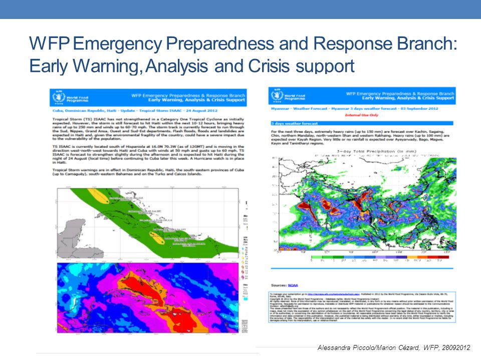 WFP Emergency Preparedness and Response Branch: Early Warning, Analysis and Crisis support Alessandra Piccolo/Marion Cézard, WFP, 28092012